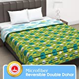Divine Casa Twilight Abstract Microfiber All Weather Double Dohar- Green and Blue
