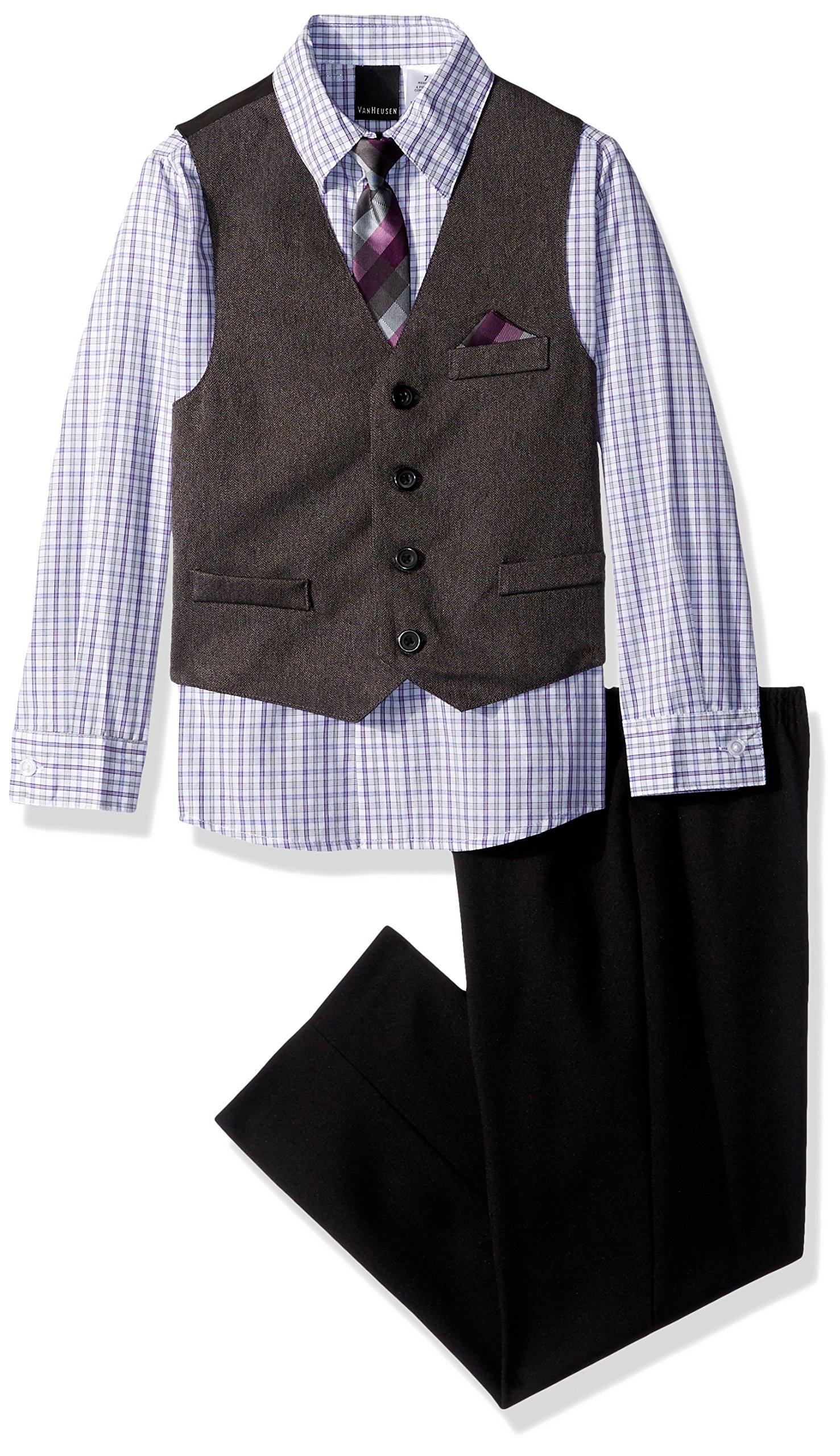 Van Heusen Boys' Four Piece Vest Dresswear Set with Tie, Grapesoda, 6