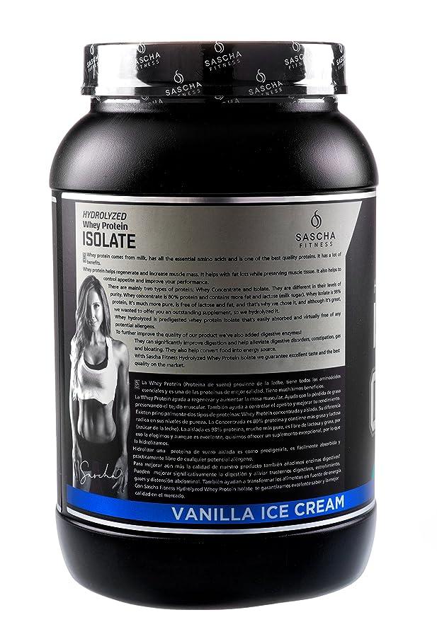 Sascha Fitness - Aislado de Proteína de Suero Hidrolizado (907 gr , Vainilla) : Amazon.es: Salud y cuidado personal