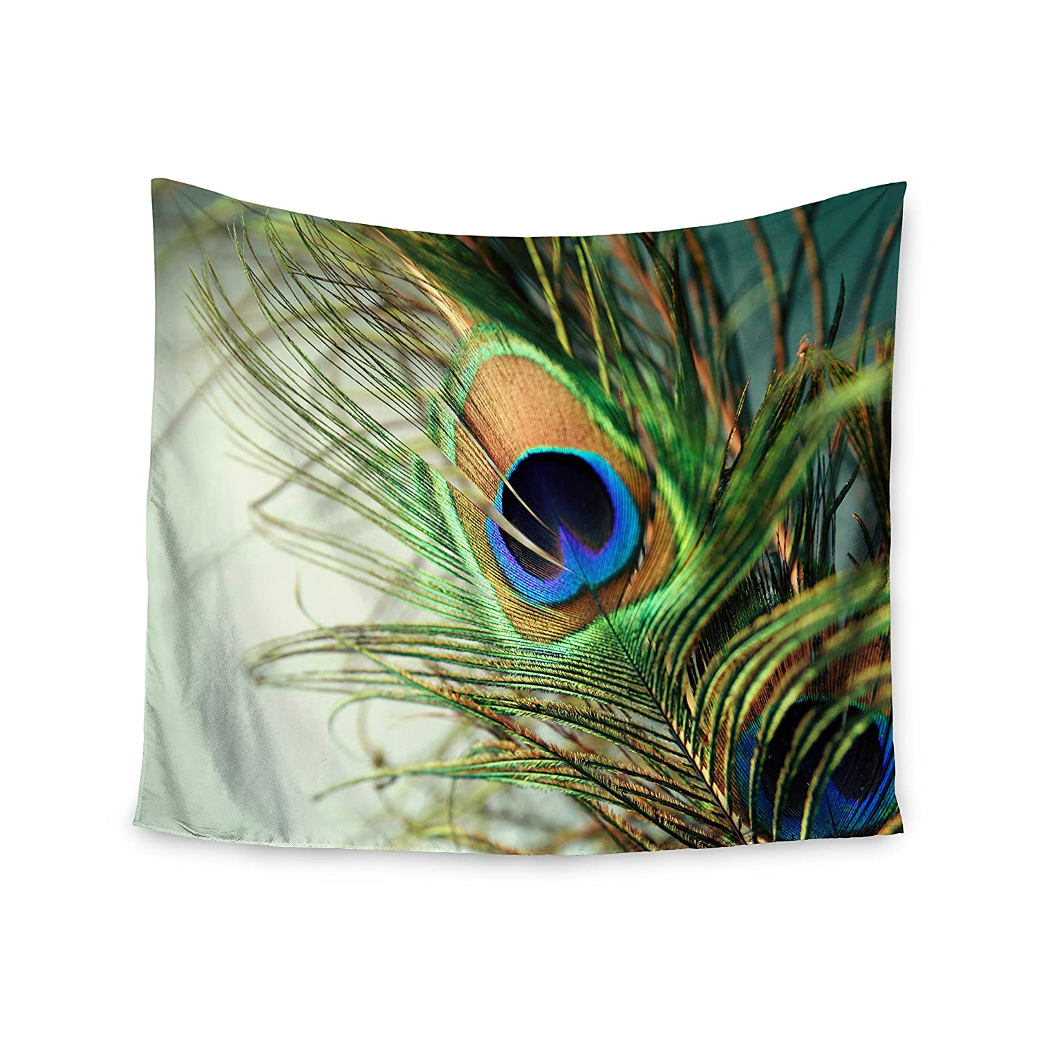 68 X 80 Kess InHouse Sylvia Cook Teal Peacock Feather Wall Tapestry