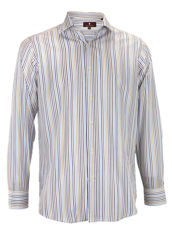 Argyle Culture Mens Long Sleeve Button Up Striped Dress Shirt White