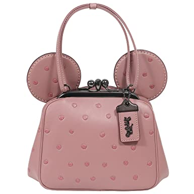 93bf3f7d40e Image Unavailable. Image not available for. Color  Coach Mickey Bag  Crossbody Saddle Leather Mickey Ears Kiss Lock ...