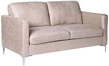 Amazing Homelegance Breaux Modern Track Arm Loveseat With Chrome Legs Accents Sesame Alphanode Cool Chair Designs And Ideas Alphanodeonline