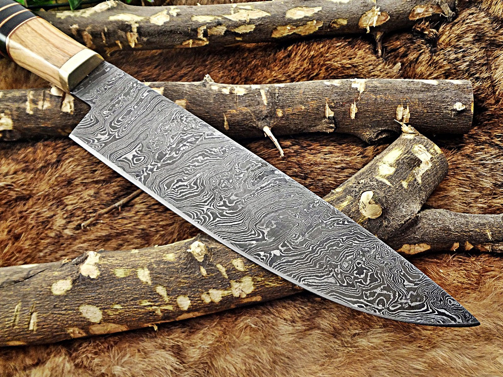 13.5 Inches long custom made Damascus steel chef Knife 8'' full tang blade Kow wood scale with brass spacer and bull horn round scale by Damascus Depot (Image #6)