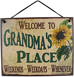 """Sign with Sunflower Saying""""Welcome To Grandma's Place WEEKENDS, WEEKDAYS, WHENEVER"""" Decorative Fun Universal Household Signs from Egbert's Treasures"""