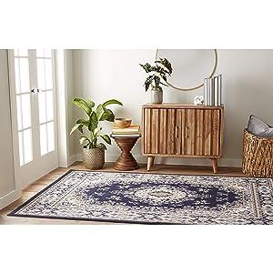 "Home Dynamix Premium Sakarya Traditional Area Rug, 7'8""x10'7"" Rectangle, Navy Blue"