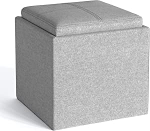 SIMPLIHOME Rockwood 17 inch Wide Square Cube Storage Ottoman with Tray in Cloud Grey Linen Look Fabric, Footrest Stool, Coffee Table for the Living Room, Bedroom, and Kids Room, Contemporary
