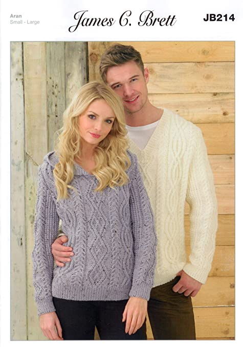 2e2d71658 Ladies and Men s Sweater JB214 Knitting Patterns from James C Brett. Knit  with Aran wool