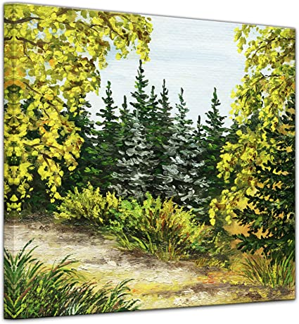 Bilderdepot24 Cuadros en Lienzo Lámina Reproducción Acuarela Jardín Botánico de Rusia 80 x 80 cm - Listo tensa, Directamente Desde el Fabricante: Amazon.es: Hogar