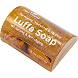Luffa Soap Bar to clean dark spots Body Scrub Soap for Stretch marks Whitening with Turmeric, Tamarind and Honey Aromatherapy by Puretural