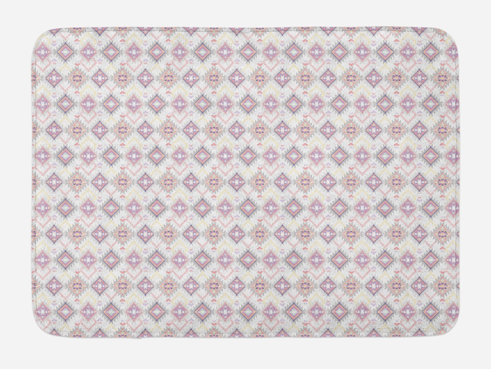 Ambesonne Primitive Country Bath Mat, Pastel Colored Ikat Style Pattern with Grunge Look and Geometric Motifs, Plush Bathroom Decor Mat with Non Slip Backing, 29.5 W X 17.5 W Inches, Multicolor