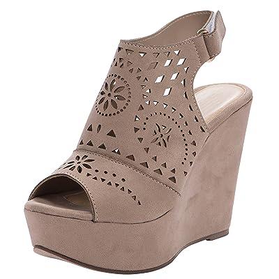 Cambridge Select Women's Peep Toe Perforated Laser Cutout Slingback Chunky Platform Wedge Sandal | Shoes
