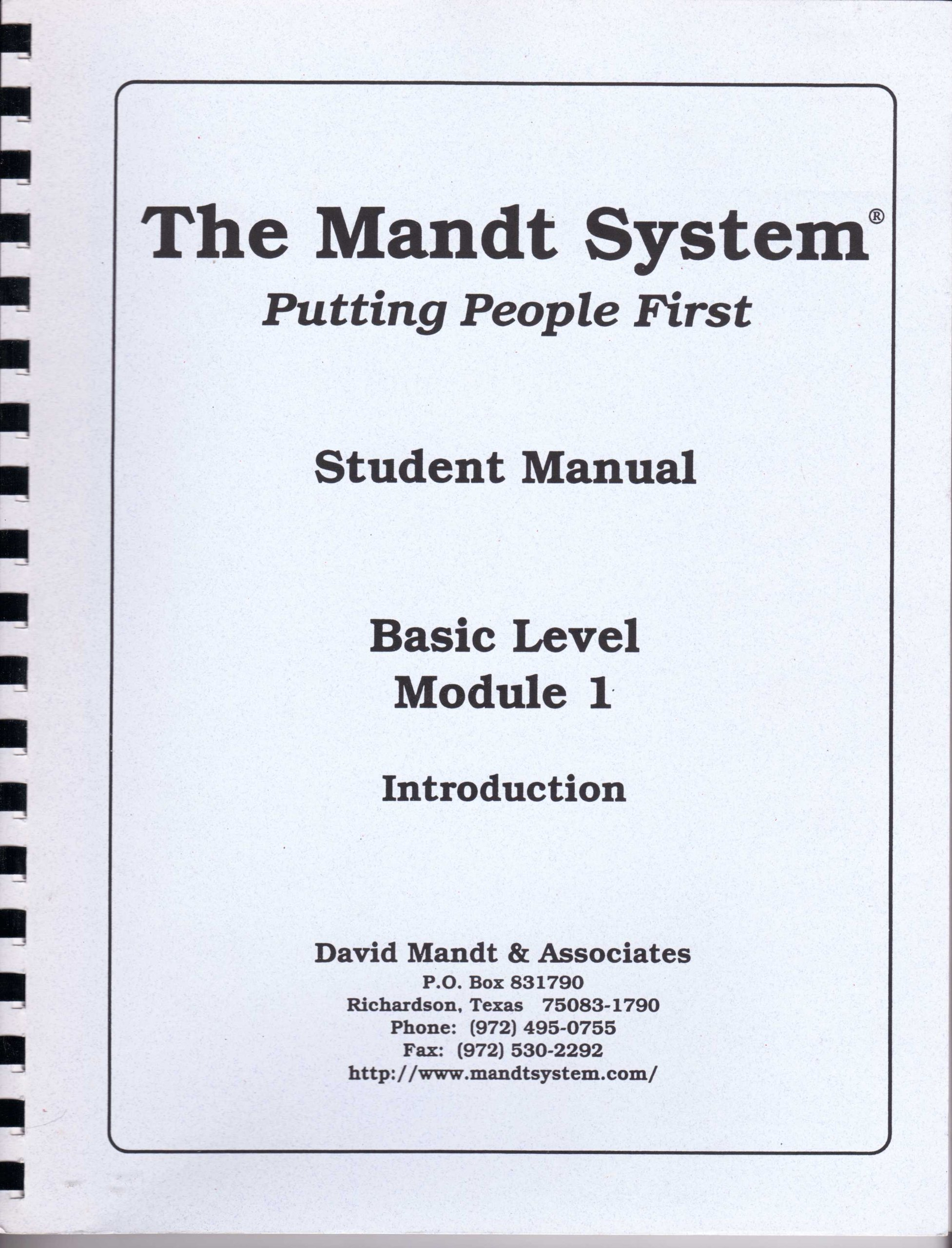 The Mandt System Putting People First Student Manual Basic Level
