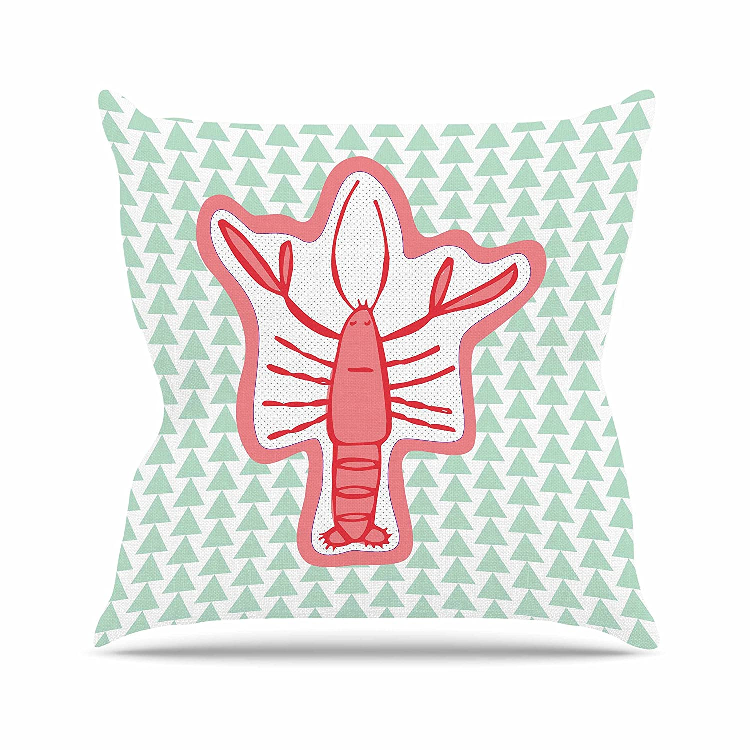 Kess InHouse MaJoBV Langosta Red Lobster Throw Pillow 16 by 16