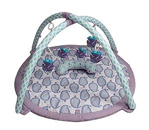 Bacati Isabella Girls Paisley Baby Activity Gym with Mat, Lilac/Purple/Aqua