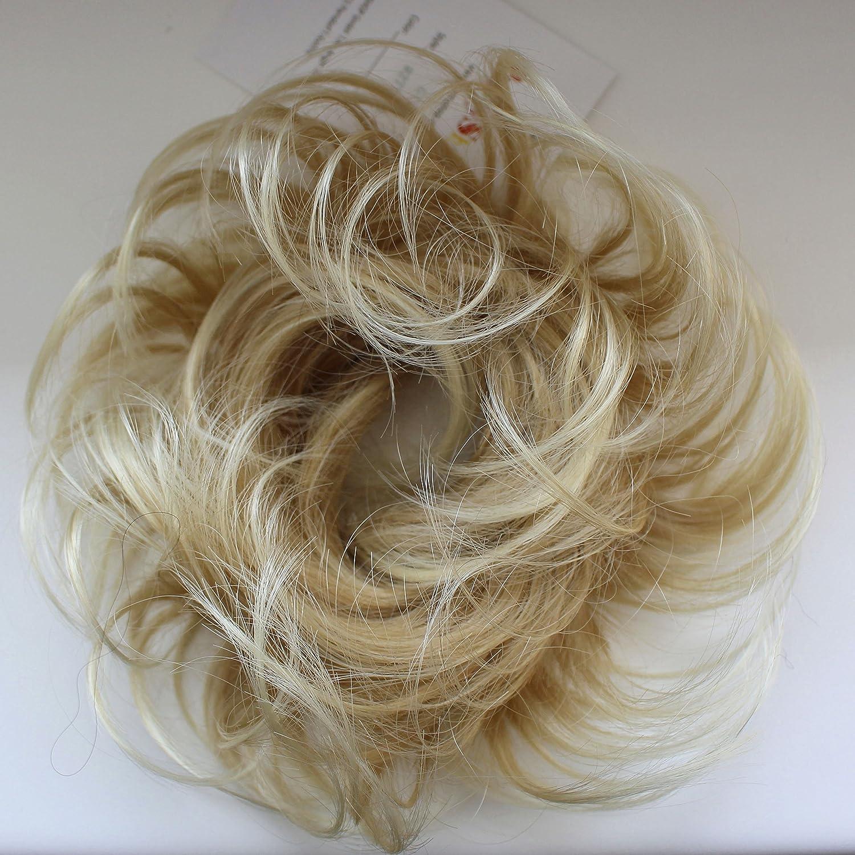 PRETTYSHOP Postizo Coletero Peinado alto, rizado, Moño descuidado,blanco rubio # 88 HG4A