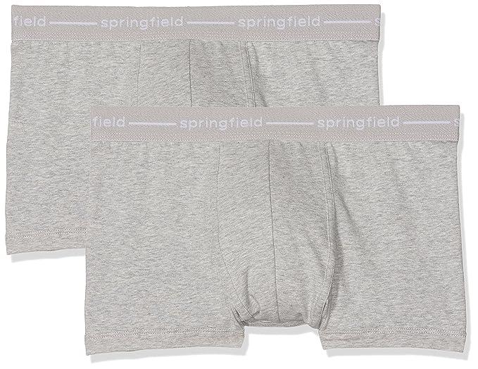 Springfield Pack 2 Basico W, B Gr, Bóxer para Hombre, Gris (Grey), Small (Tamaño del fabricante:S): Amazon.es: Ropa y accesorios