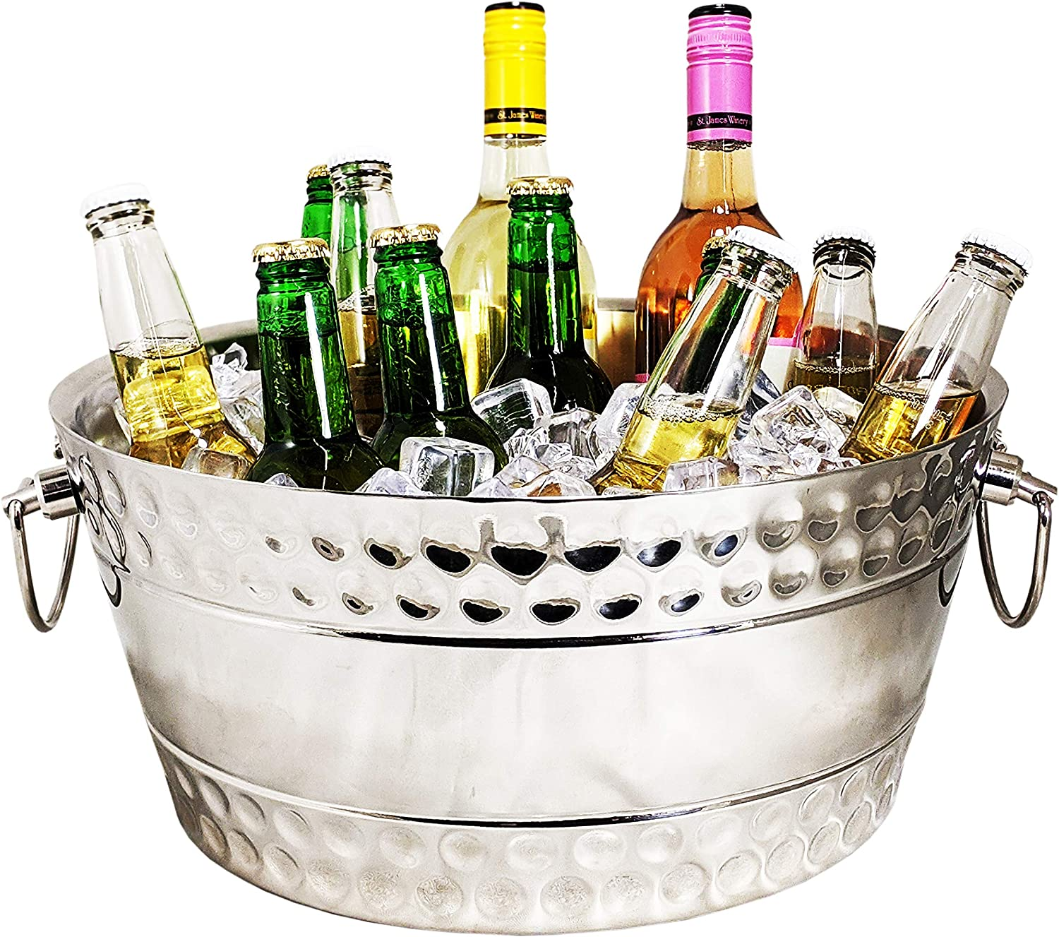 BREKX Hammered Stainless-Steel Beverage Tub, Double-Walled Insulated Anchored Bolt Drink Tub & Ice Bucket with Double Hinged Handles, Drink Chiller for Parties, 12 Quarts