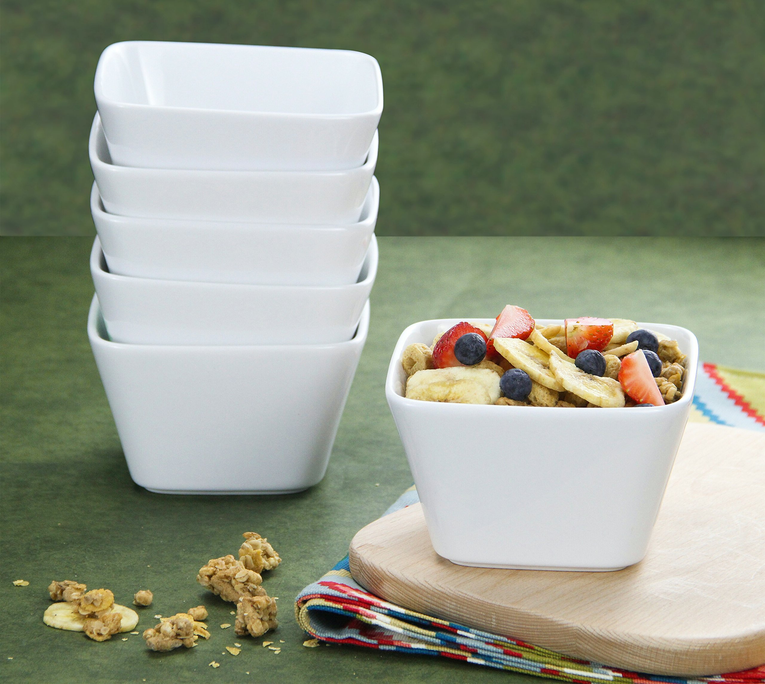 DOWAN 20 Ounce Porcelain Square Cereal Bowls - 6 Packs ,White by DOWAN (Image #7)