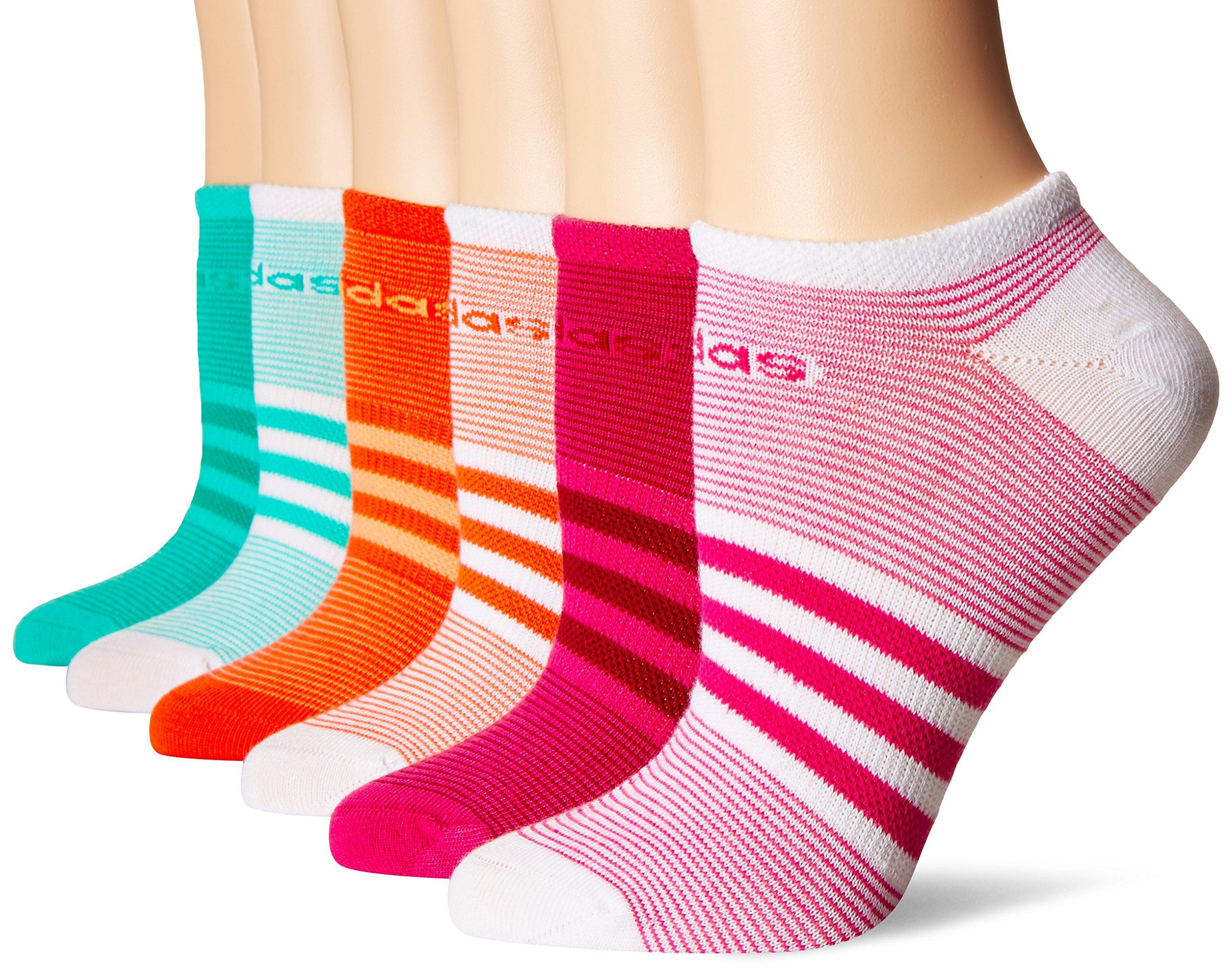 adidas Women's Superlite 6-Pack No Show Socks, Bahia Magenta/Mystery Ruby/Easy Coral/Sun Glow/Bright Green/Core Green/White,Women's Sock size (5-10)