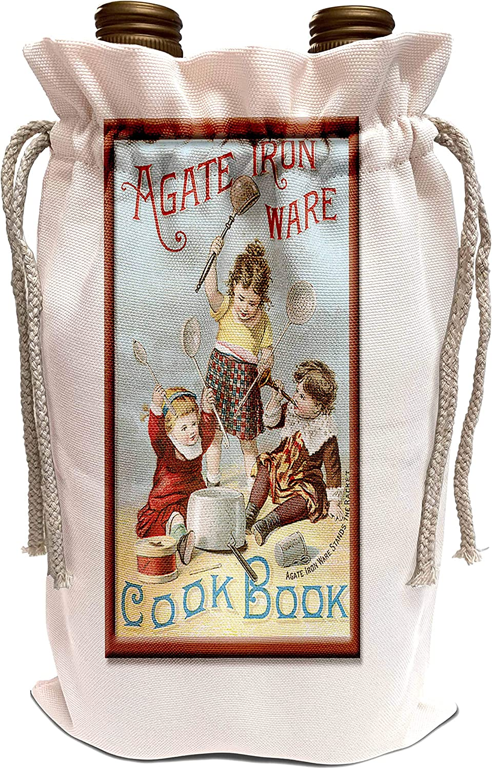 3dRose BLN Vintage Food and Drink Labels and Posters - Vintage Agate Iron Ware Cook Book Cover - Wine Bag (wbg_149247_1)