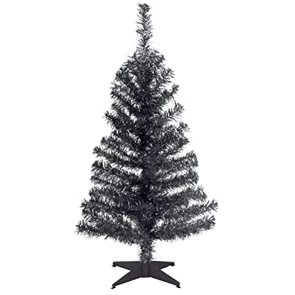 national tree 3 foot black tinsel tree with plastic stand tt33 704 30