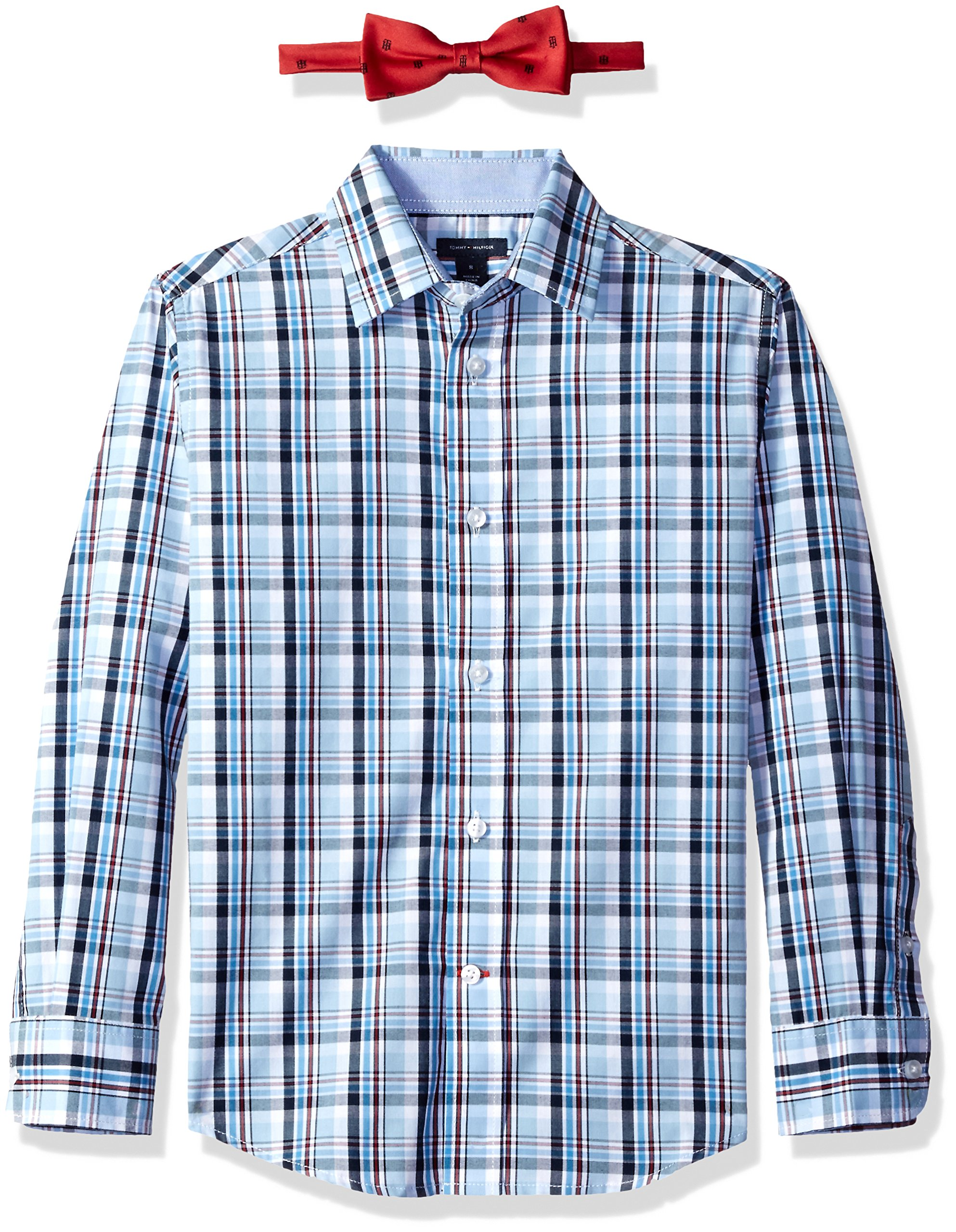 Tommy Hilfiger Big Boys' Plaid Shirt with Bow Tie, Light Blue, 18 by Tommy Hilfiger (Image #2)