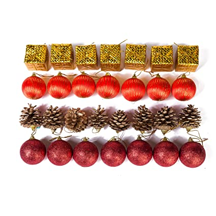 Xena 28 Piece Elegant Modern Red Gold Christmas Tree Ball Ornament Drum Snow Pine Cone Winter Theme Assortment Set 2 X 2 Inches Diy Holiday Xmas