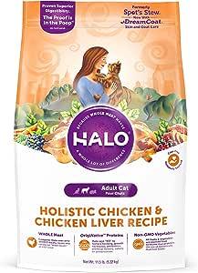 Halo Natural Dry Cat Food, Chicken & Chicken Liver Recipe, 11.5-Pound Bag