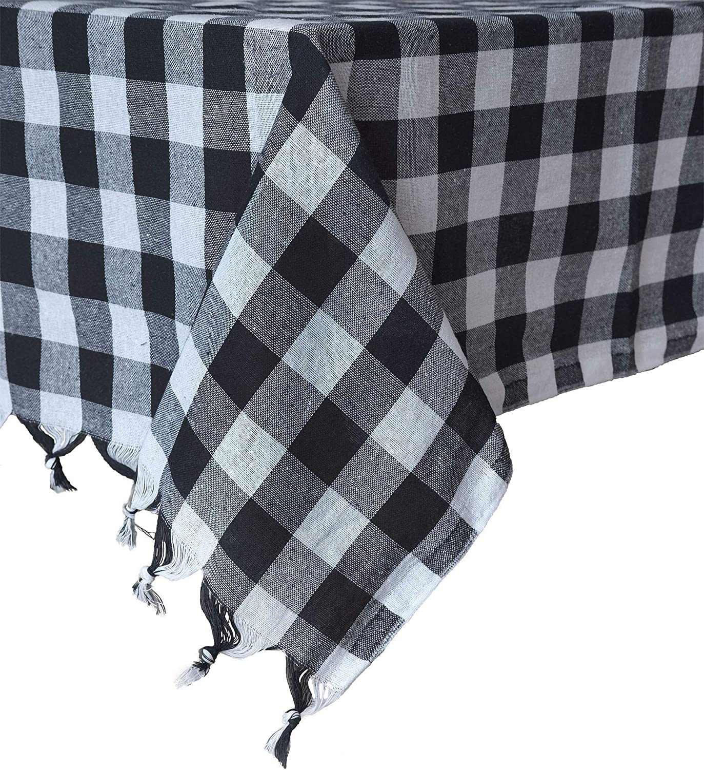Madame Gayda Tablecloth Checkered Buffalo Check Plaid Linen Cotton Picnic Blanket Table Cover Mantel (Black and White, 55 x 55'')