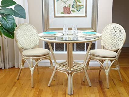 amazon com 3 pc rattan wicker dining set round table glass top 2