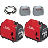 Honda 2-Piece EU2000i 2000W Generator, 2-Piece Inverter with Silver Cover and Parallel Cord