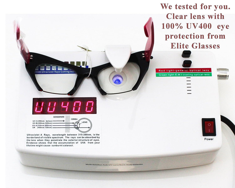 654474dde2 Amazon.com  Cat Eye Eyeglasses Women Retro Vintage Razor Clear Lens Style  Half Cut Off Frame (Black