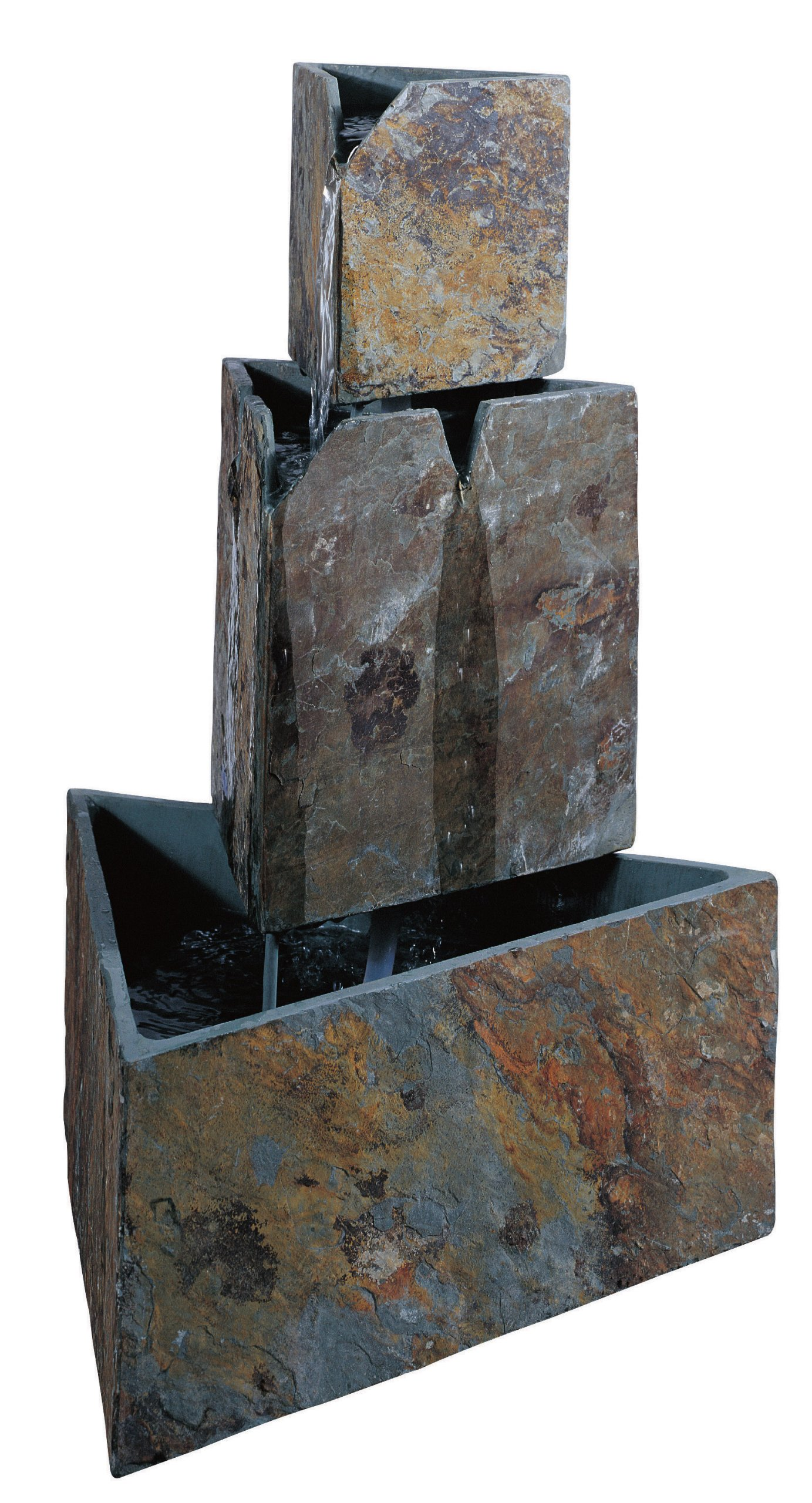 Kenroy Home #50287SL Stacked Triangles Outdoor Floor Fountain in Natural Slate Finish