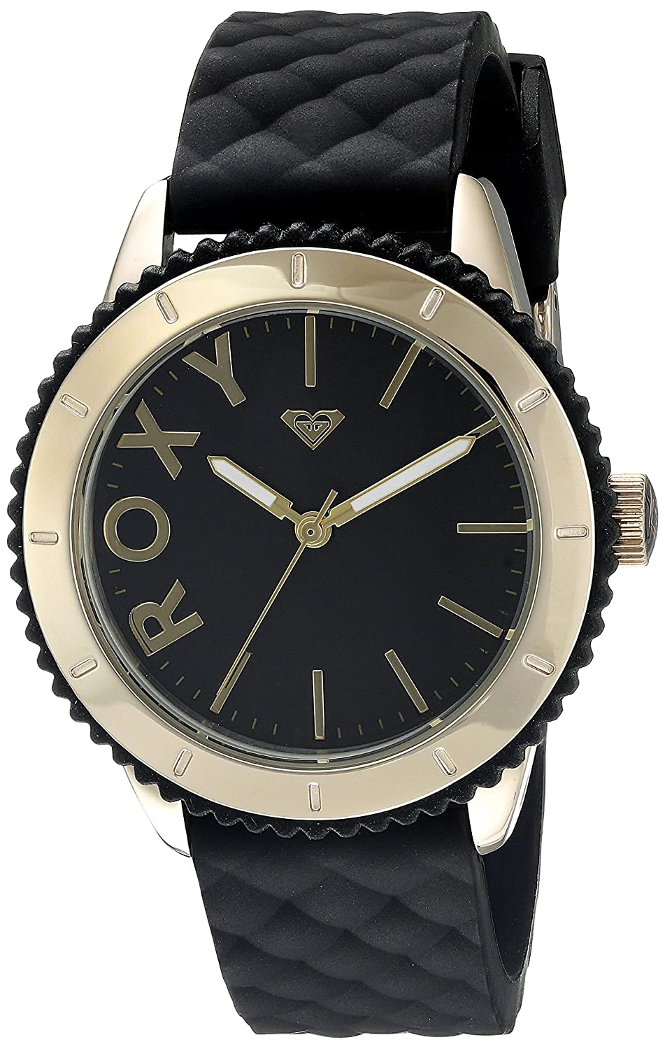 Roxy Damen-Armbanduhr The Del Mar Analog Silikon Schwarz RX-1013BKRG