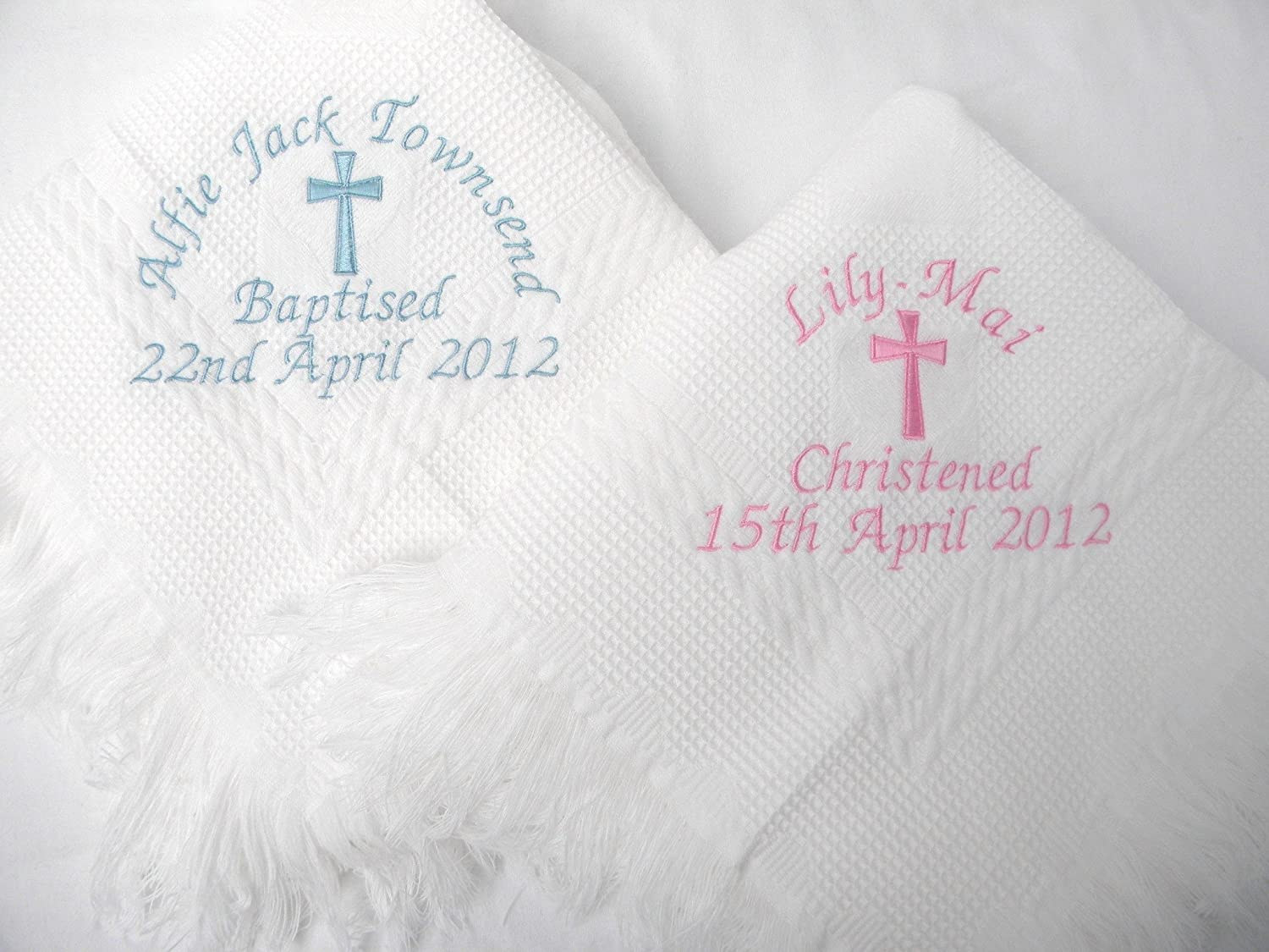 Christening/baptism personalised shawl with big cross in white or cream (cream) Giftsabc shlcrmbicr01
