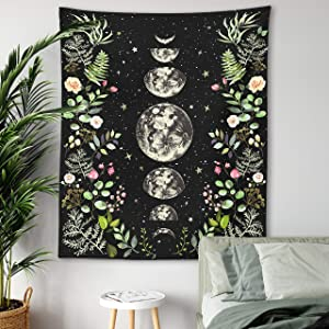 Moonlit Garden Tapestry Moon Phases Surrounded by Vines and Flowers Black Wall Hanging Floral Luna Night Sky Moon Eclipse Universe Galaxy Starry Night Lunar Phases Wall Decor Tapestry (51