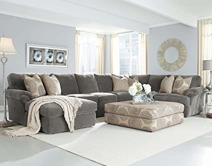 Chelsea Home Bradley Large Sectional In Light Grey Fabric