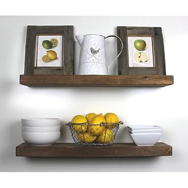 SOLID RUSTICS Handmade Rustic Wood Floating Wall Shelves, Walnut, Set of 2, (24  Walnut)