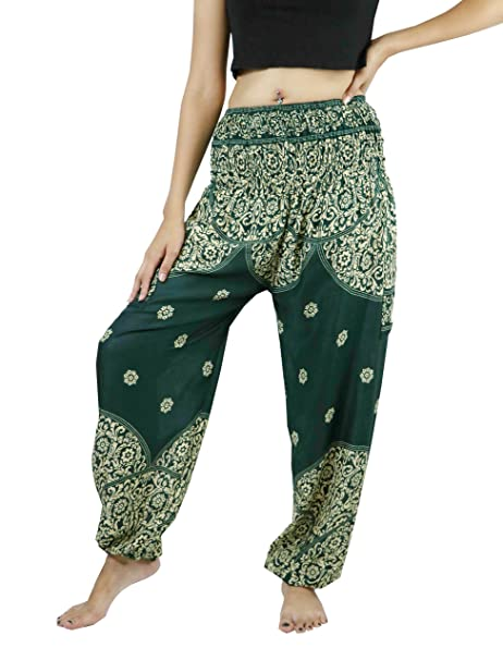 736f575270c5e NaLuck Harem Pants Women's Hippie Bohemian Boho Smocked Waist Geometric  Mandala Floral Prints Aladdin Yoga Casual Pants PJ05-Green#2 at Amazon  Women's ...
