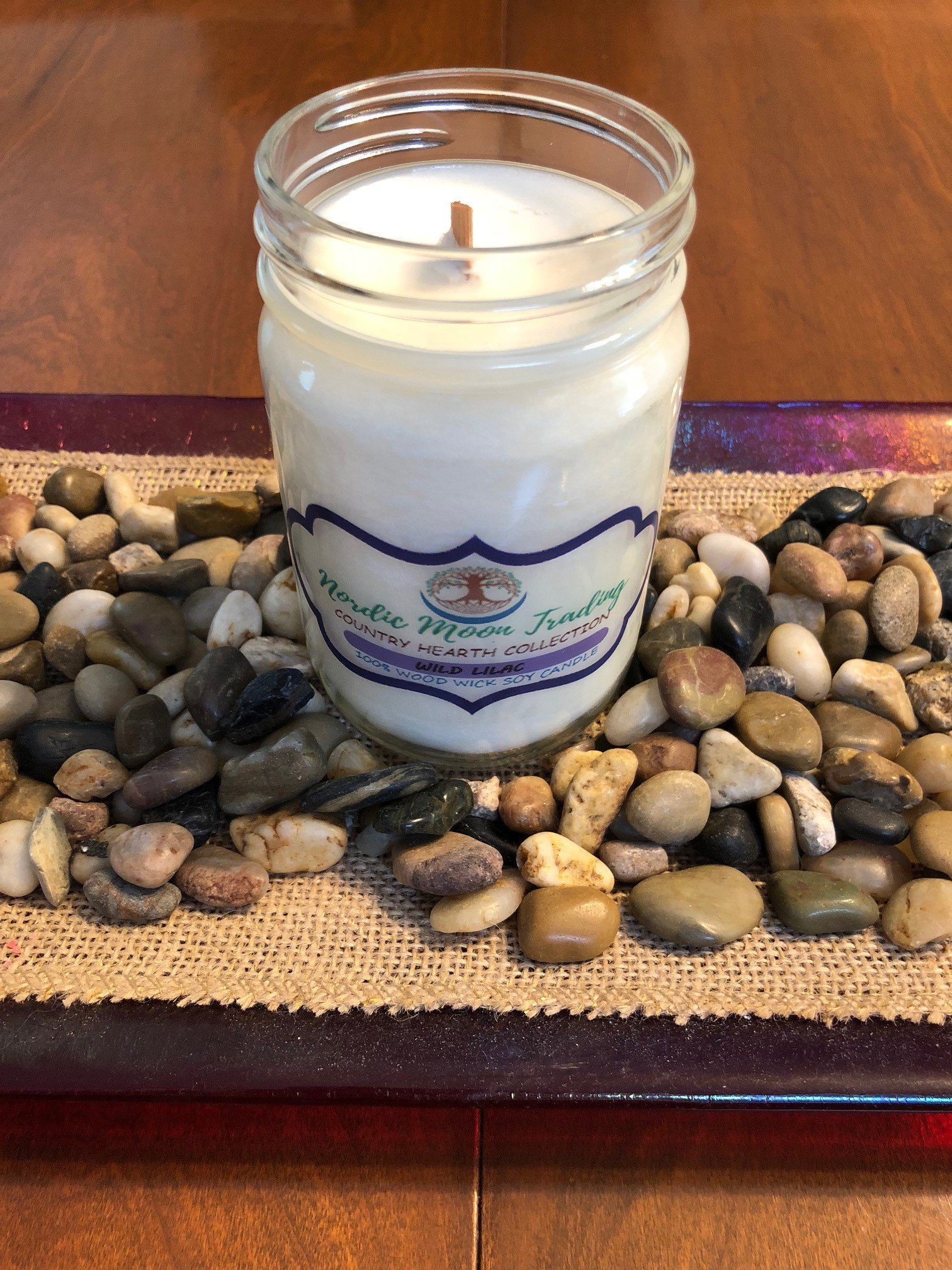 Nordic Moon Trading 100% Natural Soy Wax, Wood Wick Scented Candle 12 oz Mason Jar - Wild Lilac. Made in USA by Family Owned Business. 100 Hours of Burn Time. Clean Burning, No Black Soot. by Nordic Moon Trading (Image #2)