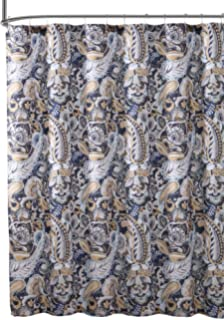 Elegant Navy Blue Beige Fabric Shower Curtain: Large Floral Paisley Print Design, 72