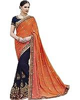 Sareeshop Georgette Saree With Blouse Piece (2411-A_Orange_Free Size)
