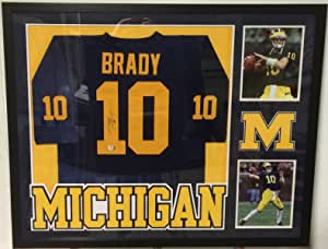 Tom Brady Autographed Custom Framed Michigan Wolverines Jersey GA ...