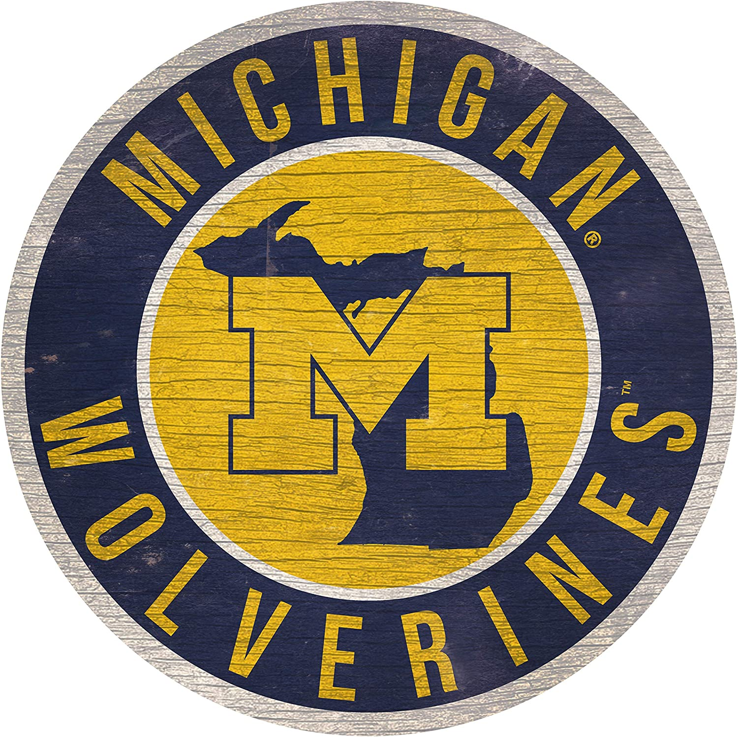 """Fan Creations NCAA Michigan Wolverines 12"""" Circle with State and Team Logo Wood Sign"""