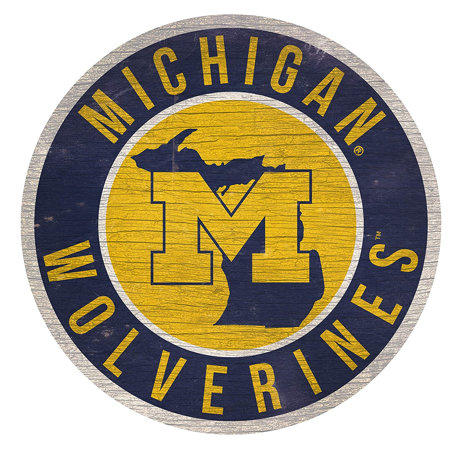 Fan Creations NCAA Michigan Wolverines 12 Circle with State and Team Logo Wood Sign