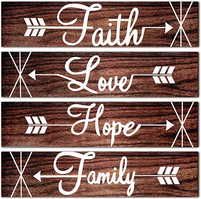 4 Pieces Rustic Wood Arrow Sign Wall Decor Faith Love Hope Family Signs Wooden Wall Signs Rustic Home Signs Farmhouse Entryway Sign for Living Room Bedroom Kitchen Dining Room Farmhouse, 13 x 3 Inch