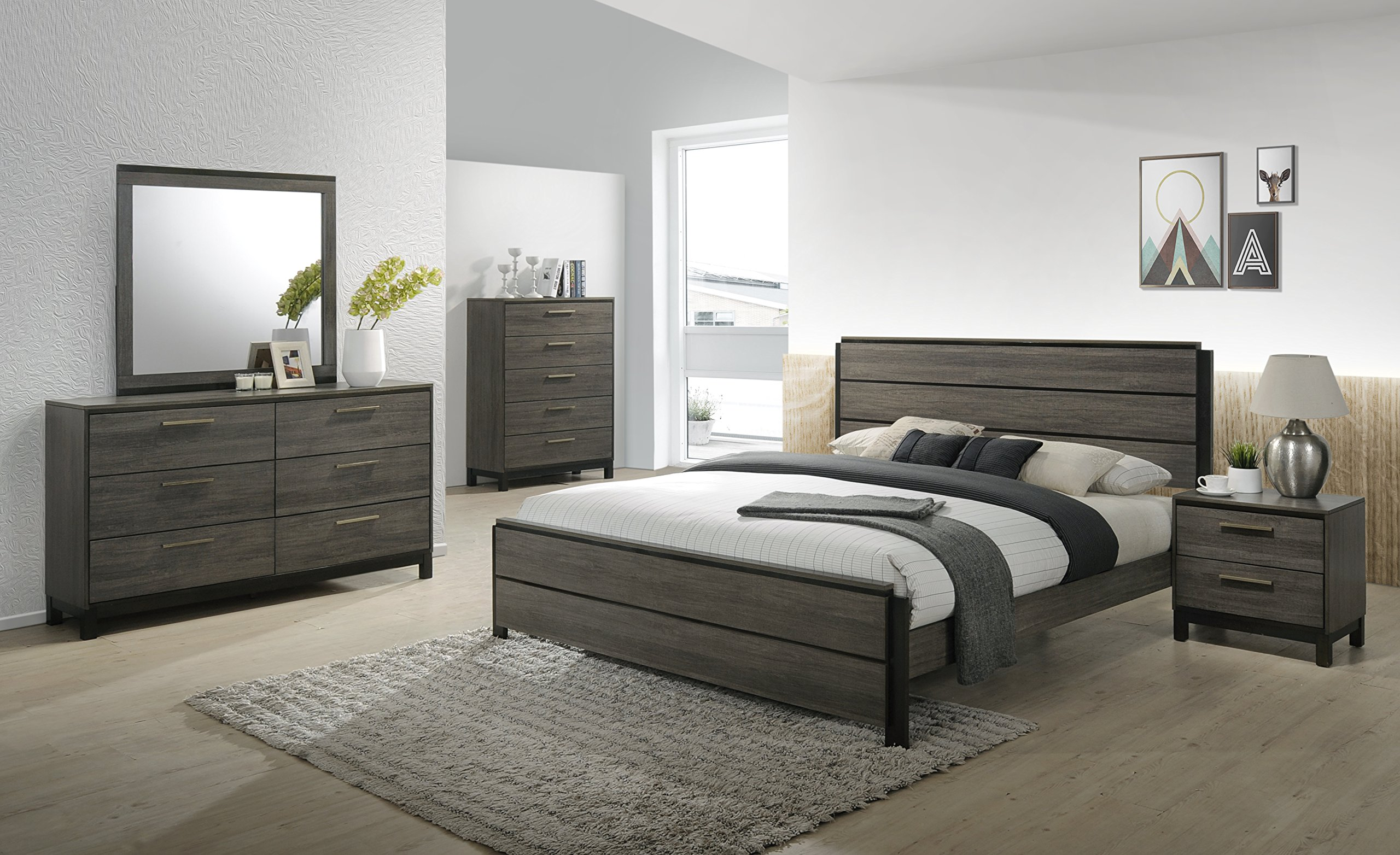 Roundhill Furniture Ioana 187 Antique Grey Finish Wood Bed Room Set, King Size Bed, Dresser, Mirror, Night Stand, Chest