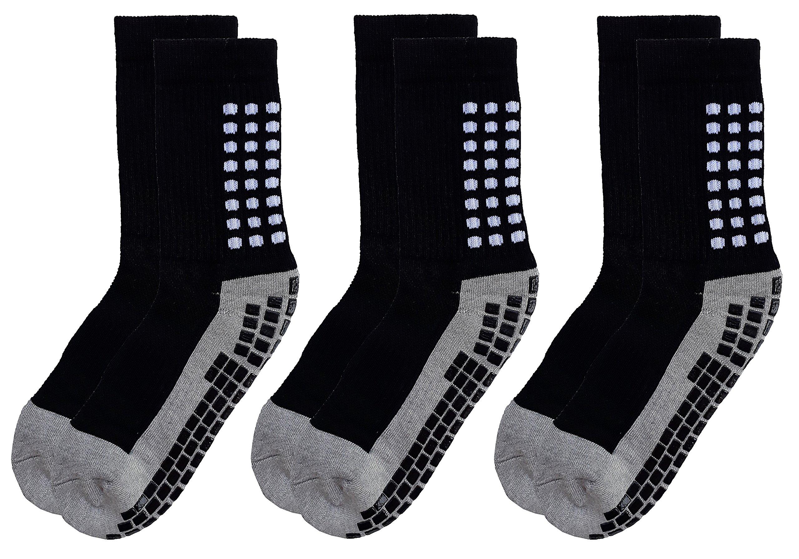 Deluxe Anti Slip Non Skid Slipper Hospital Socks with grips for Adults Men Women (Medium, 3 pairs-black)