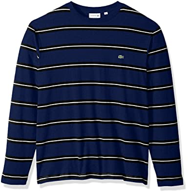 89f52634f2f25 Amazon.com  Lacoste Men s Long Sleevestriped Heavy Jersey Tee-with ...